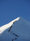 Long Line of Climbers on Summit Ridge of Mont Blanc, 4810M, Chamonix, French Alps, France, Europe Photographic Print by Christian Kober