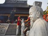 Statue in Confucius Temple, Fuzi Miao Area, Nanjing, Jiangsu, China, Asia Photographic Print by Ian Trower
