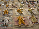 Students of a Sanskrit School Performing the Savasana Posture During Daily Yoga Lesson, India Photographic Print