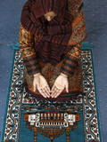 Muslim Woman Kneeling on Prayer Mat Saying Prayers, Jordan, Middle East Photographic Print