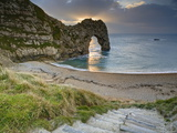 Winter Sunset at Durdle Door, Jurassic Coast, Dorset, England, Uk Photographic Print by David Wogan