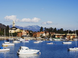 Yachts in the Harbour at Solcio on Lake Maggiore, Italian Lakes, Piedmont, Italy, Europe Photographic Print by Christian Kober