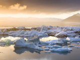 Icebergs Floating on the Jokulsarlon Glacial Lagoon at Sunset, Iceland, Polar Regions Photographic Print by Lee Frost