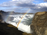 Gullfoss, Europe's Biggest Waterfall, With Rainbow Created From the Falls, Near Reykjavik, Iceland Fotografisk tryk af Lee Frost