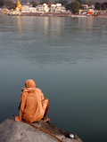 Sadhu Sitting By the River Ganges in Rishikesh, Uttarakhand, India, Asia Photographic Print