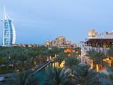 Burj Al Arab and Madinat Jumeirah Hotels at Dusk, Dubai, United Arab Emirates, Middle East Photographic Print by Amanda Hall
