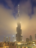Burj Khalifa Illuminates the Clouds and Surrounding Skyline at Night, Downtown, Dubai, Uae Photographic Print by Amanda Hall