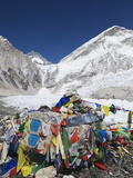Prayer Flags at the Everest Base Camp Sign, Sagarmatha National Park, Himalayas Photographic Print by Christian Kober