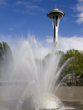 International Fountain and Space Needle at the Seattle Center, Seattle, Washington State, USA Photographic Print by Richard Cummins
