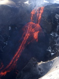 Lava Flowing Down Mountain From Eyjafjallajokull Volcano, Iceland, Polar Regions Photographic Print