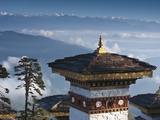 Buddhist Chorten, Dochula Pass, Himalayan Mountain Range in Distance, Bhutan, Asia Photographic Print by Kim Walker