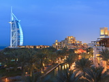 Burj Al Arab Viewed From the Madinat Jumeirah Hotel at Dusk, Jumeirah Beach, Dubai, Uae Photographic Print