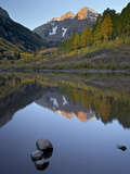 Maroon Bells Reflected in Maroon Lake With Fall Color, White River National Forest, Colorado, USA Photographic Print by James Hager