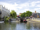 Canal Boat Negotiating a Lock, Camden Lock, London, England, United Kingdom, Europe Photographic Print by Michael Kelly