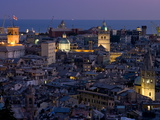 Port and Cityscape at Dusk, Genoa, Liguria, Italy, Europe Photographic Print by Charles Bowman