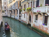A Gondola on a Canal in Venice, UNESCO World Heritage Site. Veneto, Italy, Europe Photographic Print by Amanda Hall