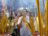 Burning Incense During Tet, the Vietnamese Lunar New Year Celebration, Thien Hau Temple, Vietnam Photographic Print