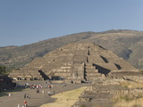 Avenue of the Dead with Pyramid of the Moon in the Background, Arch. Zone of Teotihuacan, Mexico Photographic Print