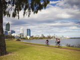 People Cycling Alongside Swan River, Perth, Western Australia, Australia, Pacific Fotoprint van Ian Trower