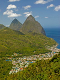 Les Pitons, Soufriere, St. Lucia, Windward Islands, West Indies, Caribbean, Central America Photographic Print