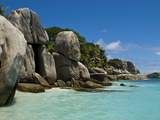 Granite Rocks at Ile De Coco, Seychelles, Indian Ocean, Africa Photographic Print