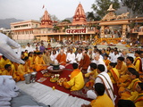 Evening Celebration in Parmath, Rishikesh, Uttarakhand, India, Asia Photographic Print