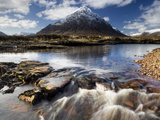 Winter View Over River Etive Towards Snow-Capped Buachaille Etive Mor, Rannoch Moor, Scotland Photographic Print by Lee Frost
