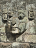 Carved Stone Face on the Steps of the East Court, Copan Archaeological Park, Honduras Photographic Print