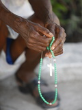Haitian Woman Praying With Prayer Beads, Port Au Prince, Haiti, West Indies, Central America Photographic Print