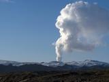 Smoke Plume Rising Over Glacier, Eyjafjallajokull Volcano, Iceland, Polar Regions Photographic Print