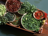 An Assortment of Chillies, a Staple Ingredient of Thai Cooking, in Floating Market in Thailand Photographic Print
