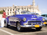 Restored Classic American Car Being Used As a Taxi For Tourists, Havana, Cuba Photographic Print by Lee Frost