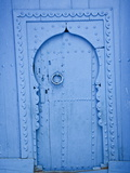 Blue Doorway With Wooden Door, Chefchaouen, Morocco, North Africa, Africa Photographic Print by Guy Edwardes