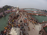 Holy Ghat of Har Ki Pauri in Haridwar During Kumbh Mela in 2010, Hardiwar, Uttarkhand, India, Asia Photographic Print