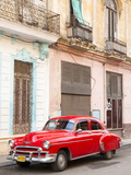 Restrored Red American Car Pakred Outside Faded Colonial Buildings, Havana, Cuba Photographic Print by Lee Frost