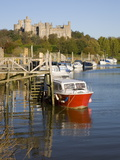 Colourful Boats Moored on the River Arun Beneath the Castle, Arundel, West Sussex, England, Uk Photographic Print
