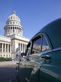 Old American Car Parked Near the Capitolio Building, Havana, Cuba, West Indies, Central America Photographic Print by Martin Child