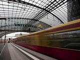 Train Leaving Berlin Hauptbahnhof, the Main Railway Station in Berlin, Germany, Europe Photographic Print by Carlo Morucchio