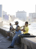 Musicians on the Malecon Playing Saxaphone and Trombone, Havana, Cuba Photographic Print