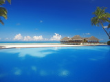 Swimming Pool, Palms and Beach Huts, Maldives, Indian Ocean, Asia Photographic Print by Sakis Papadopoulos
