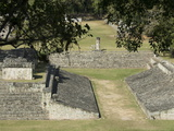 Structure No. 9 on Left and Ball Court on Right, Copan Archaeological Park, Honduras Photographic Print