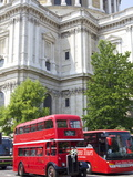 Traditional Bus Outside St. Pauls Cathedral, London, England, United Kingdom, Europe Photographic Print