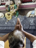Hindu Devotee Praying in a Tamil Temple, London, England, United Kingdom, Europe Photographic Print