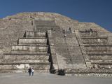 Tourists Climbing Steps, Pyramid of the Moon, Archaeological Zone of Teotihuacan, Mexico Photographic Print
