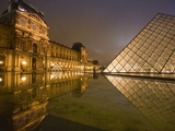 Palais Du Louvre Pyramid at Night, Paris, France, Europe Photographic Print by Marco Cristofori