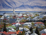 View Over Reykjavik With Mountains Looming in the Distance, Reykjavik, Iceland, Polar Regions Photographic Print by Lee Frost