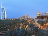 Burj Al Arab Viewed From the Madinat Jumeirah Hotel at Dusk, Jumeirah Beach, Dubai, Uae Photographic Print by Amanda Hall