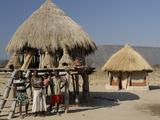 Ttraditional Thatch Roofed House and Grain Storage, Lake Kariba, Zimbabwe, Africa Photographic Print