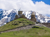 Famous Tsminda Sameba Church, Kazbegi, Georgia, Caucasus, Central Asia, Asia Photographic Print