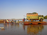 People and Truck Crossing the Manambolo River, Tsingy De Bemaraha, Madagascar, Africa Fotografisk tryk